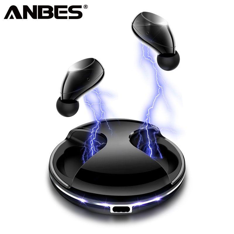 ANBES Mini Bluetooth Kopfhörer TWS Stereo Sport Kopfhörer Noise Cancelling LED UFO Design-Headset mit Lade Box