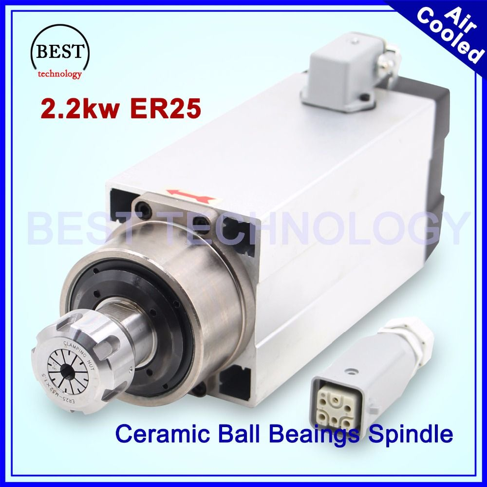 New Arrival! 2.2kw ER25 air cooled spindle 220v 4pcs ball bearings 0.01mm accuracy Ceramic ball bearigs CNC wood working spindle