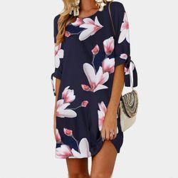 Femme Floral Imprimé Mini Robe Plus La Taille Droite Casual Robe D'été 2018 Boho Femmes D'été Moitié Douille D'o-Cou Boho GV591