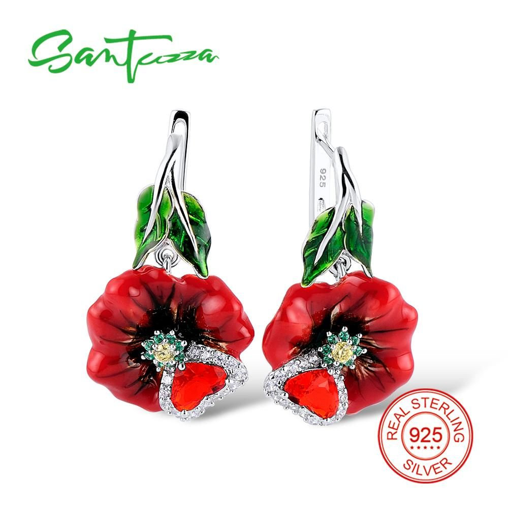 SANTUZZA Silver Earrings For Women 925 Sterling Silver Earrings Long Silver 925 Cubic Zirconia brincos Jewelry Enamel