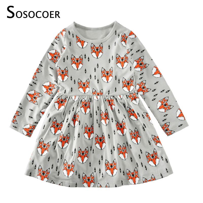 SOSOCOER Toddler Girls Dresses Cartoon Baby Dress Kids Clothes Spring Autumn Christmas 2018 New Cute Animal Girl Dress Clothing