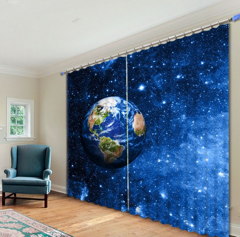 Planet and Starry sky 3D Blackout Luxury Curtains For Living room Bedding room Tapestry Wall Carpet Drapes Cotinas para sala