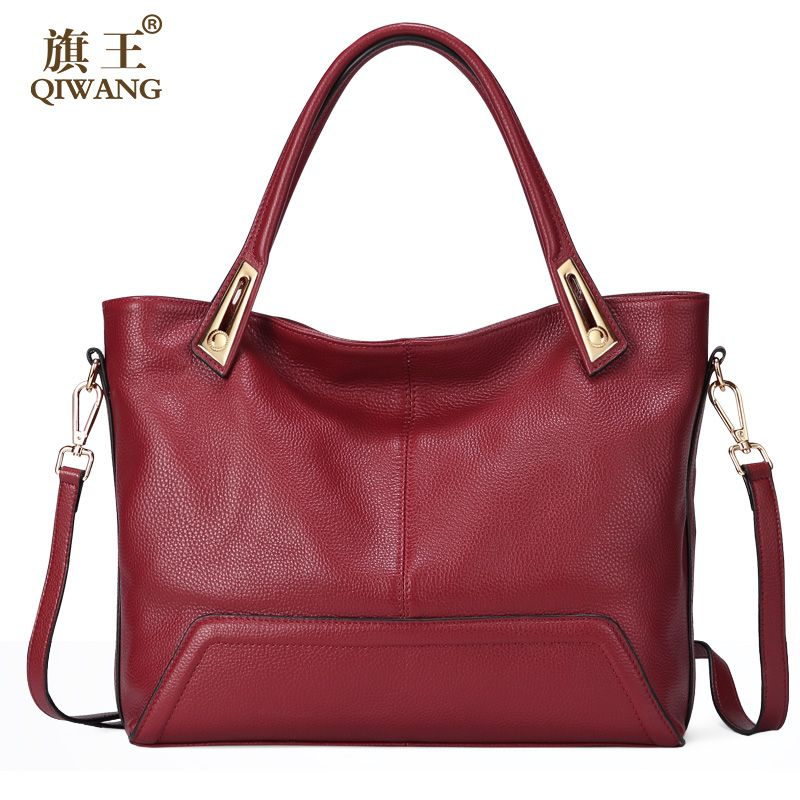 Large Leather Women Bags Luxury Brand Genuine Leather Bags Red Clearance Price Cow Leather Handbags Wine
