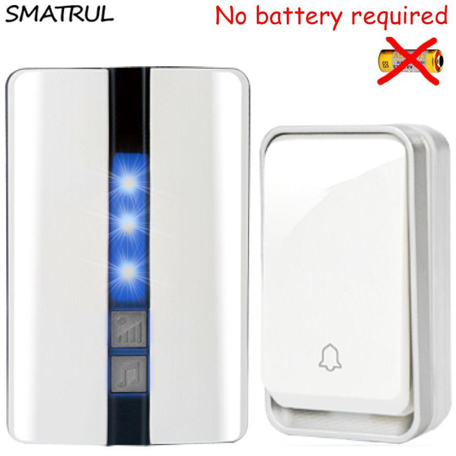 SMATRUL <font><b>self</b></font> powered Waterproof Wireless DoorBell no battery EU plug smart Cordless Door Bell 1 button 1 2 Receiver 110DB sound