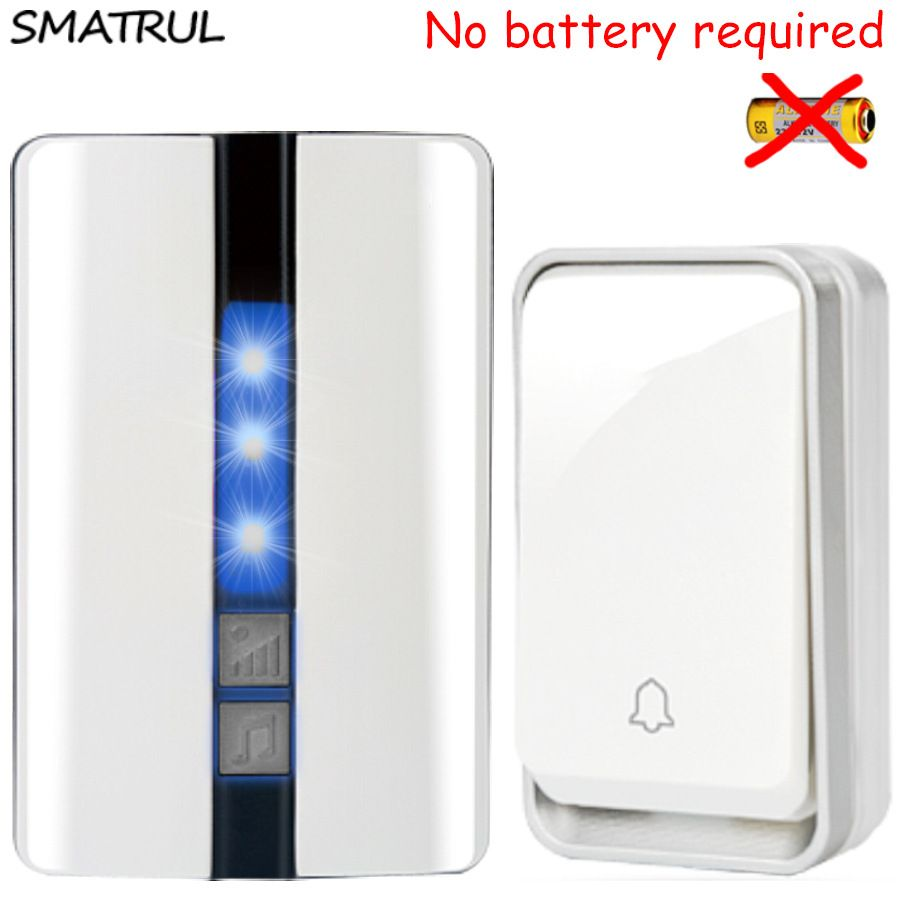 SMATRUL self powered Waterproof Wireless DoorBell no battery EU plug smart Cordless Door Bell 1 button 1 2 Receiver 110DB sound