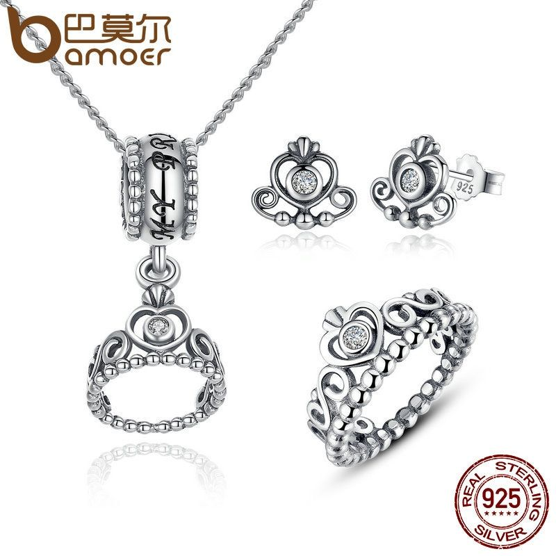 BAMOER 925 Sterling Silver Jewelry Set My Princess Queen Crown & CZ Jewelry Sets Wedding Engagement Jewelry Accessories ZHS008
