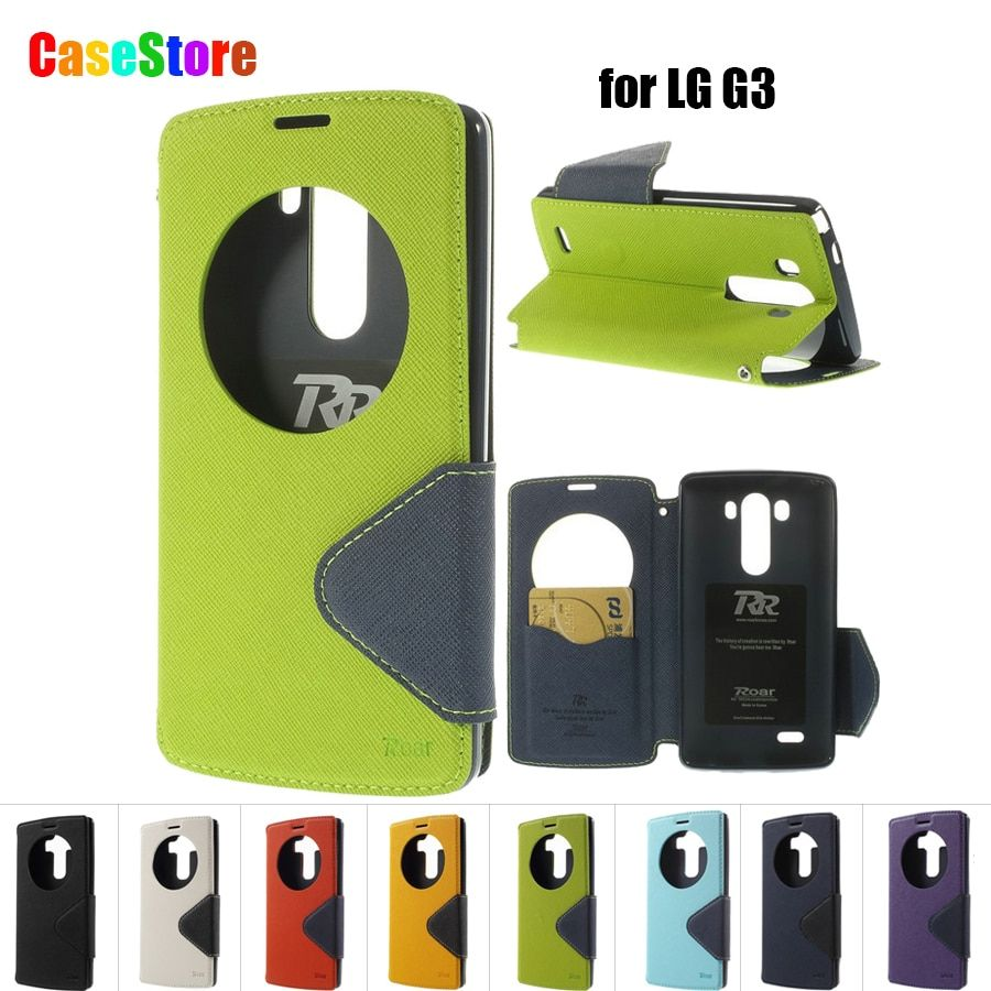 For LG G3 Case D850 D855 LS990 F400 Roar Korea Diary View Window Capa For LG G3 Circle Case Filp Leather Stand Card Solt Bags
