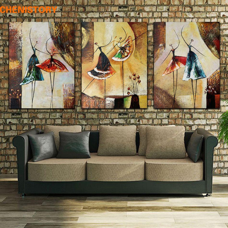 Non encadré 3 panneau peint à la main Ballet danseur abstrait moderne mur Art photo décor à la maison peinture à l'huile sur toile pour chambre