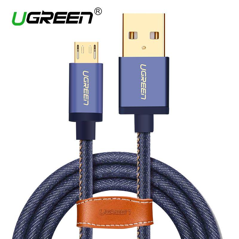 Ugreen Micro Usb-kabel 2 Mt 1 Mt Schnelle Ladegerät und Datenkabel Denim Geflochtene Kabel Handy USB Ladekabel Für Samsung HTC Huawei