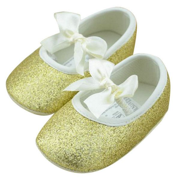 Hot 3-12 Months Toddler Baby Girl Shine Antislip Shoes Bowknot Soft Sole Ribbon Crib Shoes Girls First Walkers