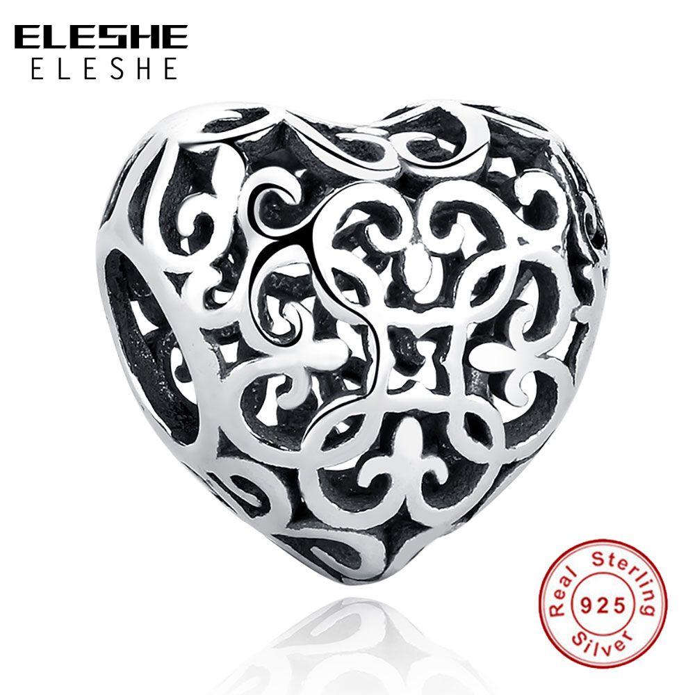 ELESHE Regalo Charm Fit Original ELESHE Pulsera Collar Puro 925 Calado Floral de La Flor del Corazón de Los Granos DIY de La Joyería
