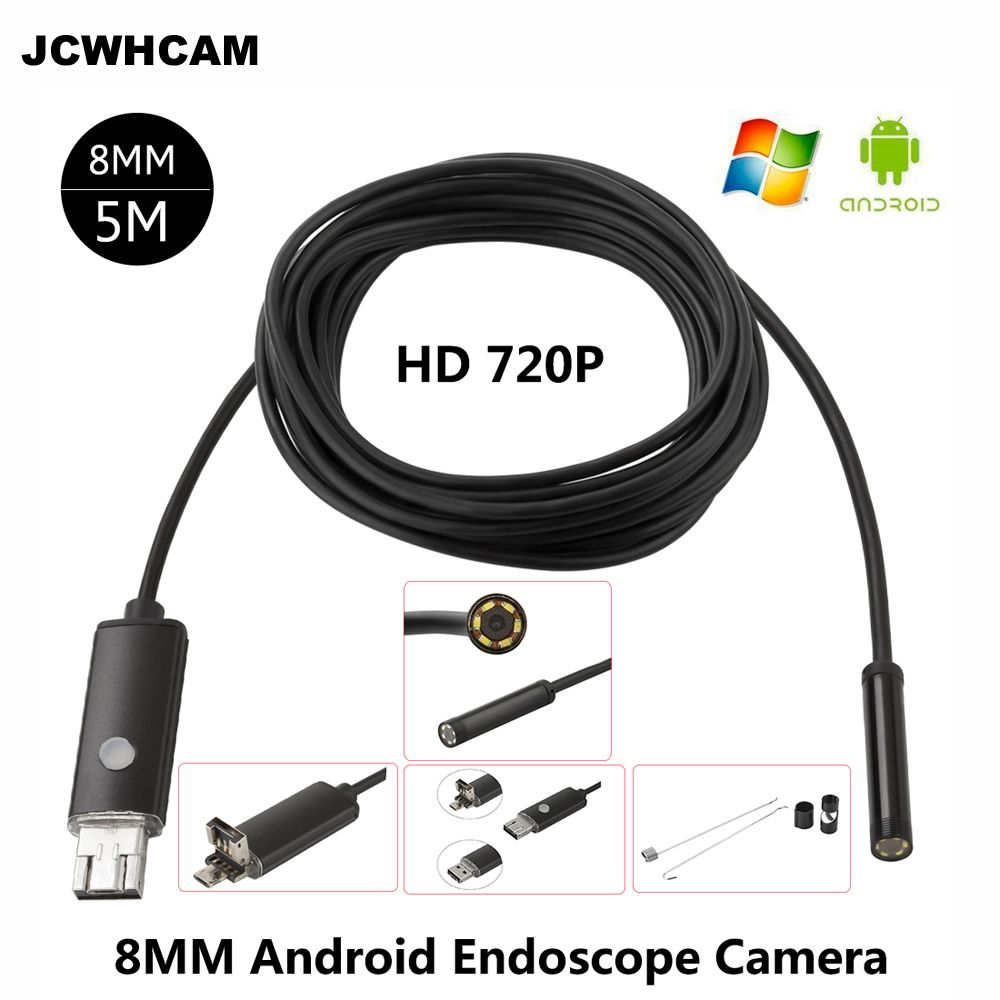 JCWHCAM HD 2MP 6 LED 8mm Len 1 M 5 M Android USB Endoscope IP67 étanche Inspection Endoscope Tube caméra OTG Android téléphone 720 P