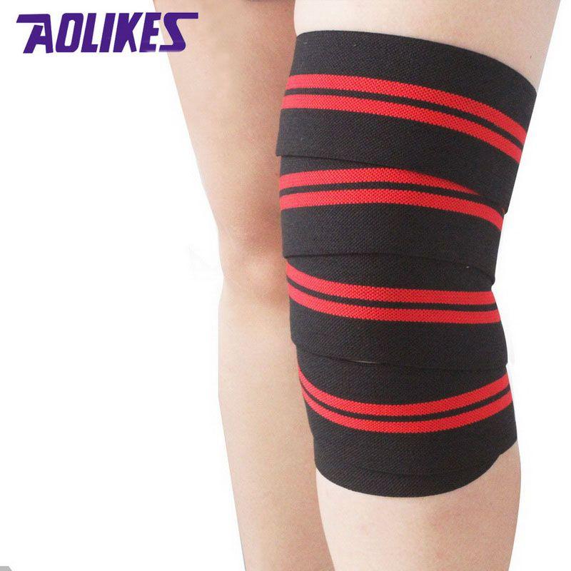 AOLIKES 2 шт. 2 м * 8 см пауэрлифтинг эластичный бинт сжатия ногу икры Поддержка Колено Обертывания Спортивная безопасность вендаш Para deporte