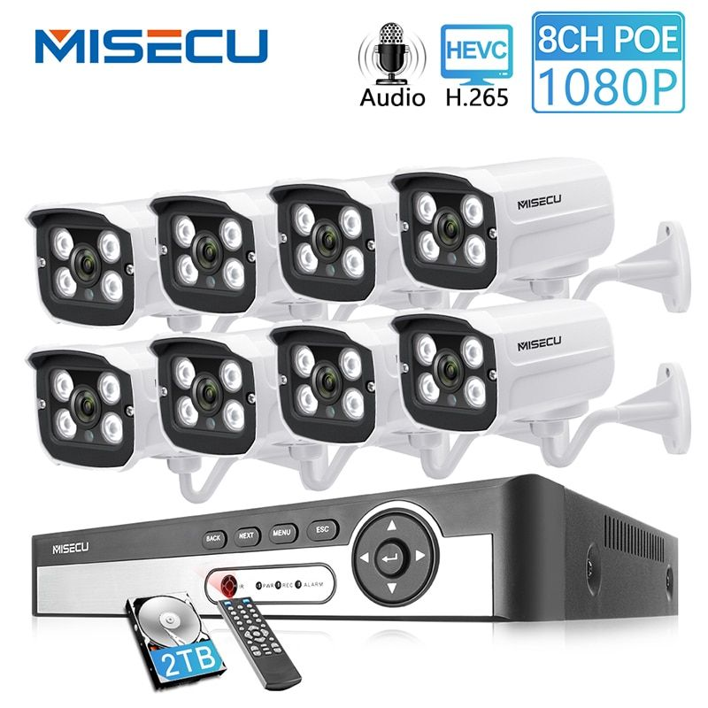 MISECU 8CH 2MP POE NVR 1080 P Kamera kit Outdoor 1080 P PoE IP Kamera Audio Record Onvif FTP CCTV system Video Überwachung Kit