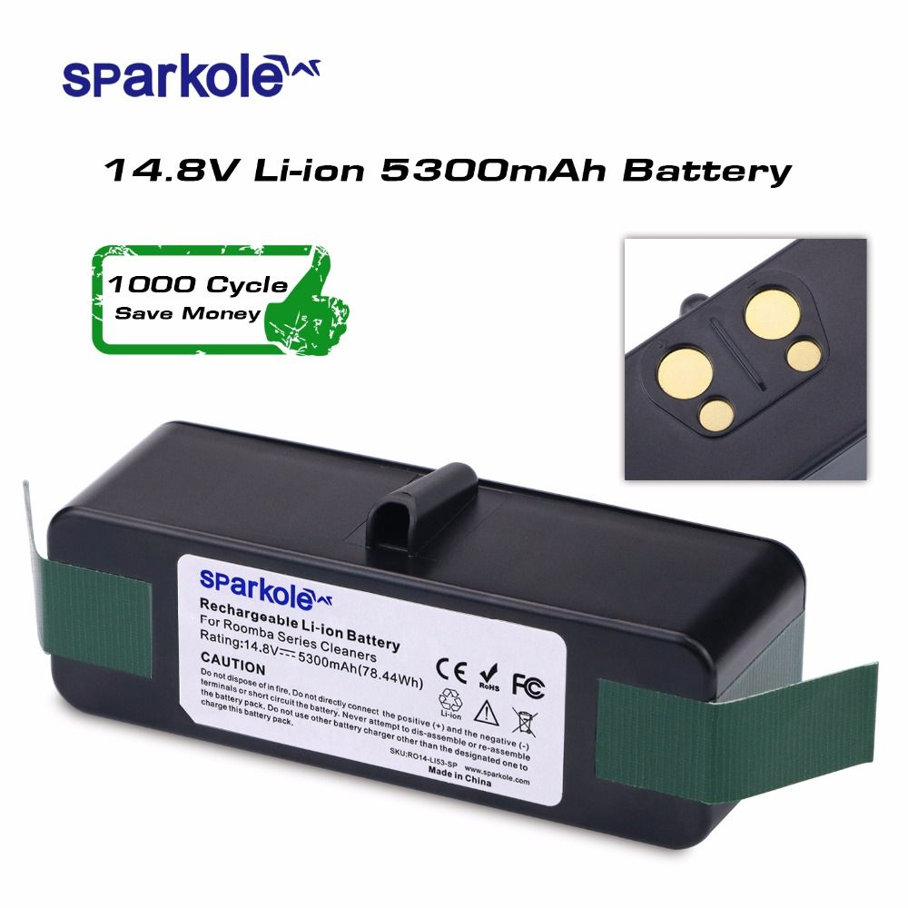 Sparkole новая версия 5.3ah 14.8 В литий-ионный Батарея для IROBOT Roomba 500 600 700 800 Series 510 531 532 550 585 561 620 630 650 880