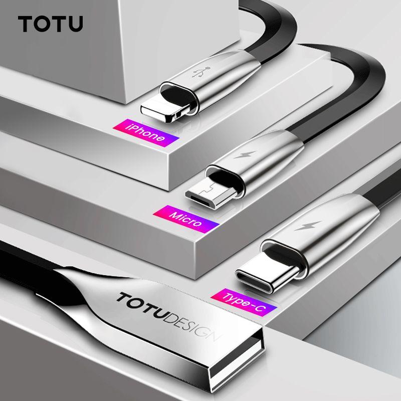 TOTU 3 en 1 câble USB pour iPhone Xs Max Xr X 8 7 chargeur de charge rapide USB Type c type-c câble Micro USB pour câble de téléphone portable