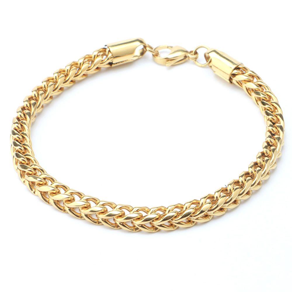 Bracelet homme acier inoxydable doré glacé Miami Bracelet lien cubain Bling bijoux Hip Hop pour homme avec fermoir de boîte en cristal