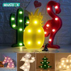 Милый светодиодный Фламинго Единорог ночные светильники Marquee знак ананас, кактус звезда светильник Настенный мультфильм декор с животными ...