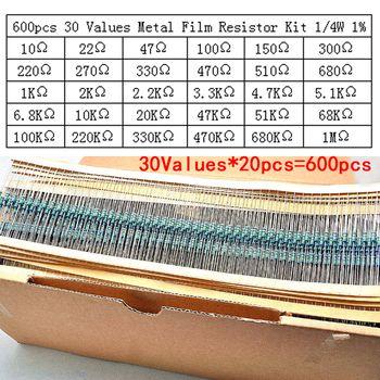 600 pcs/lot 30Values * 20 pcs 1% 1/4 W résistance pack utiliser un anneau coloré résistance (10 ohms ~ 1 M ohm) chaque valeur 20 pcs
