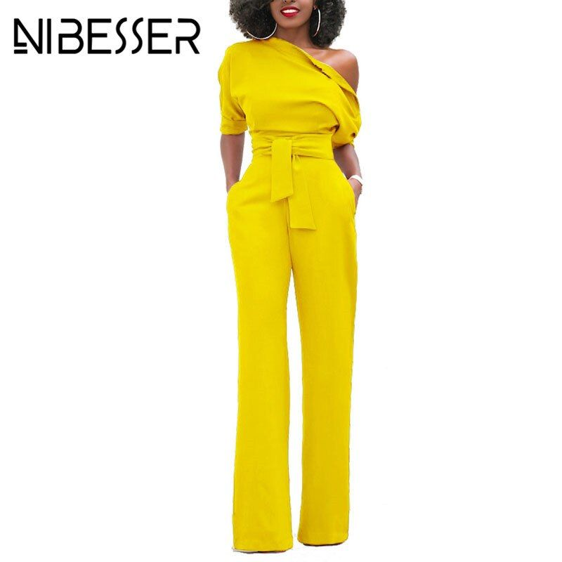NIBESSER Jumpsuits Romper Women Overalls Sexy One Shoulder bodycon tunic Jumpsuit for party elegant one-piece suit body femme