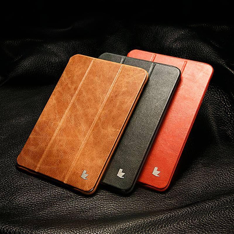 Jisoncase Véritable En Cuir Pour iPad Mini 1 2 3 Pliant de L'affaire Folio Auto Veille De Luxe Marque Smart Cover pour iPad mini 2 3 7.9