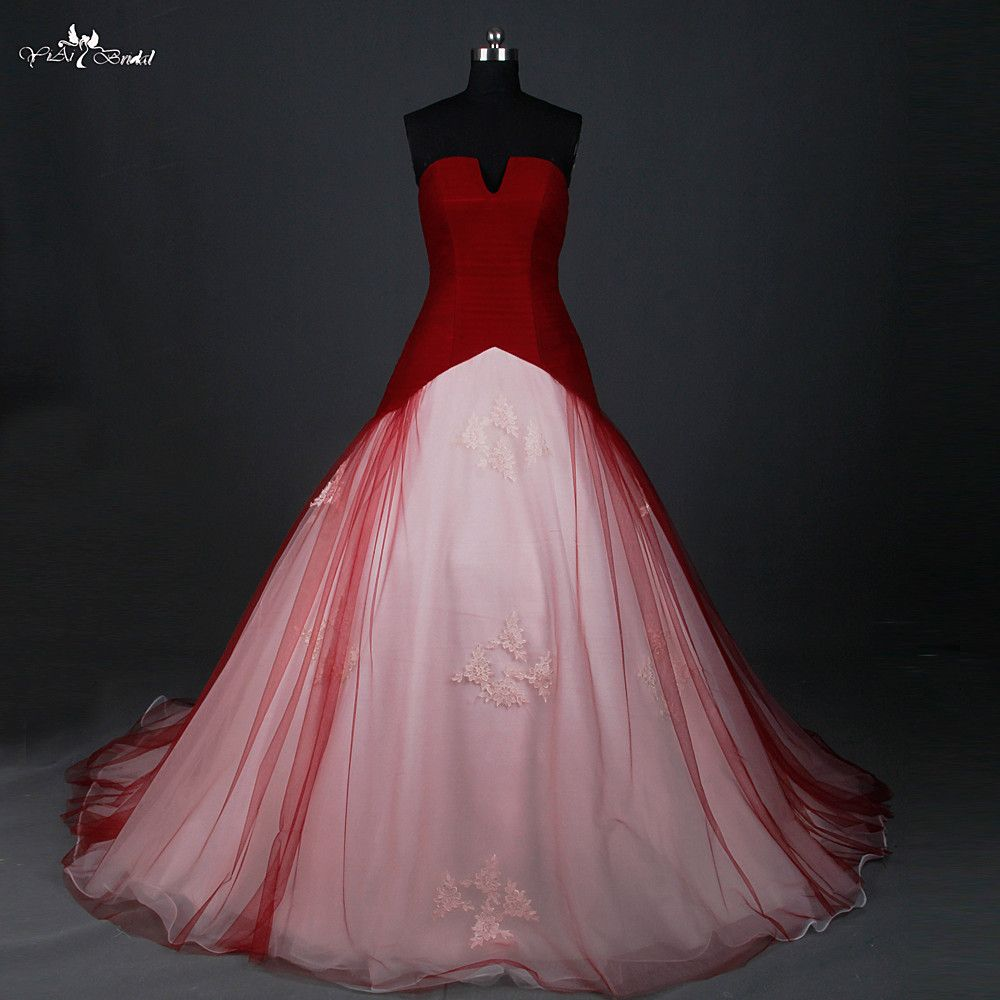 RSW884 Red Wedding Dress Ball Gown Small Open V Neck Cheap Red And White Wedding Dresses Robe Mariage