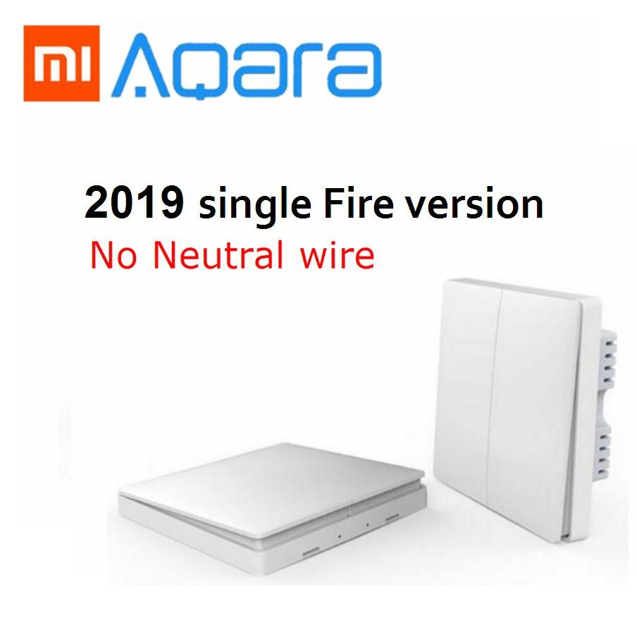 2019 Xiaomi Aqara Wall switch Zigbee Wireless switch Key Smart Light Control single Fire No Neutral by mijia Mi Home APP Remote