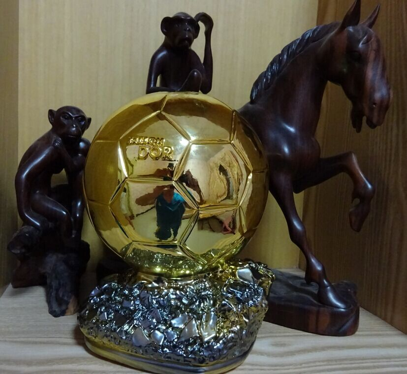 Ballon d'Or 2014 Football World Player of the Year Trophy Resin Golden Ball 24cm Factory Delivery
