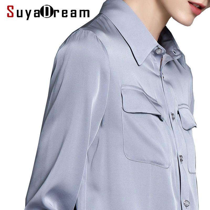 Women T SHIRT 94%Natural silk 6%Spandex Two Pockets OFFICE LADY Shirt 2017 Fall Winter New shirt Plus size 4XL