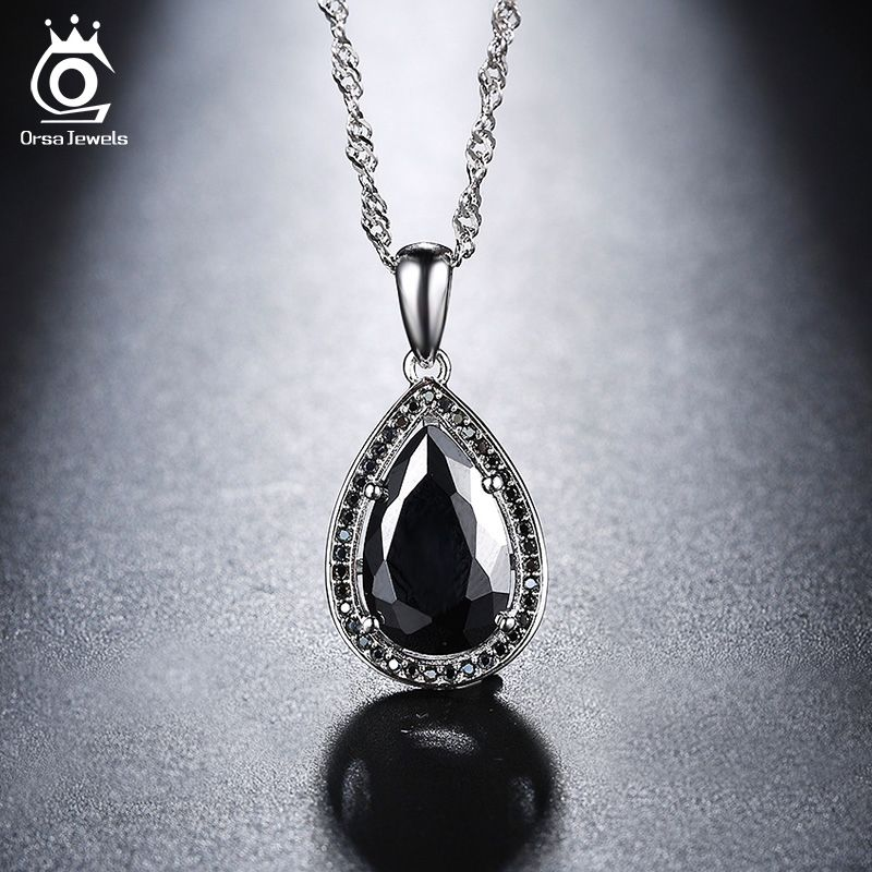 ORSA JEWELS 2018 Fashion Water Drop Pendant Necklace with White or Black AAA Austrian Cubic Zircon For Women ON125