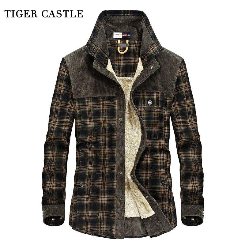 TIGER CASTLE Mens Military Fleece Winter Shirt 100% Cotton Warm Male Plaid Long Sleeve Shirt Army Men's Dress Shirts Blouses
