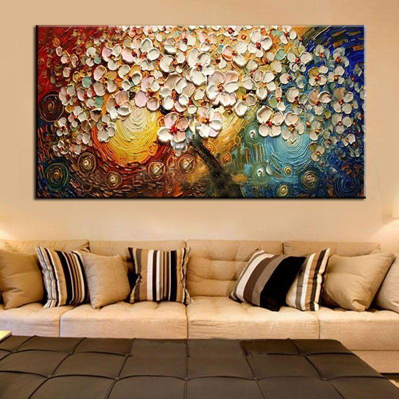 Non encadré peint à la main sur toile mur Art abstrait moderne acrylique fleurs Palette couteau peinture à l'huile pour la maison ensembles décoratifs