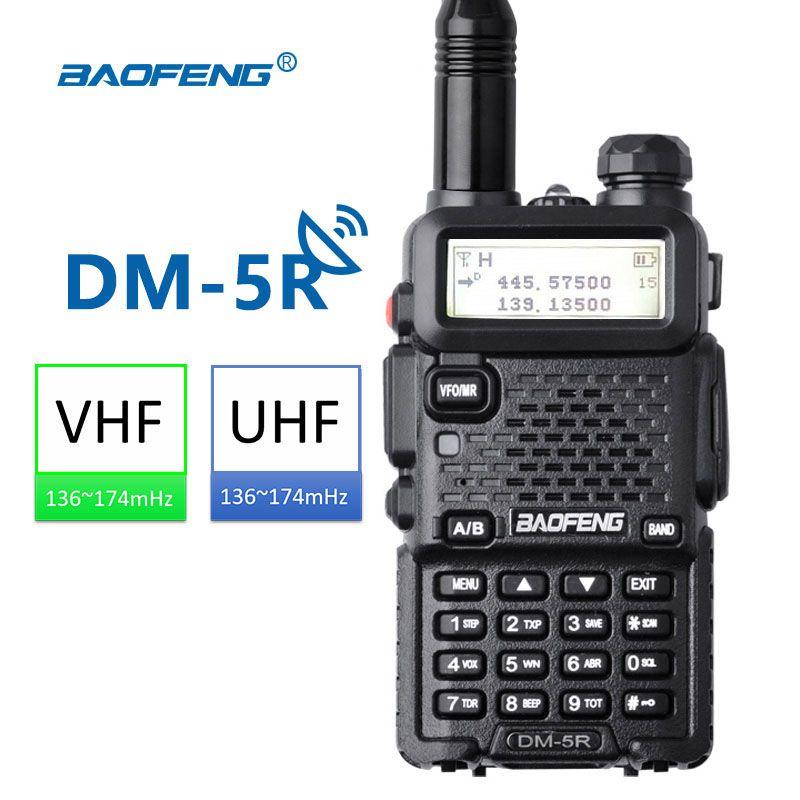 Baofeng DM-5R Walkie Taklie Dual Band DMR Digital Radio DSP Transceiver 5W VHF UHF 136-174/400-520 MHz Two-Way Radio 2000mAH