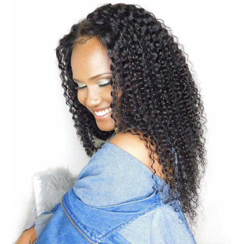 Crépus Bouclés Perruque Pré Cueilli Avant de Lacet Perruques Avec Bébé Cheveux 130% Brésilienne Sans Colle de Cheveux Humains Pleine Perruque de Lacet Pour femmes Noir Remy