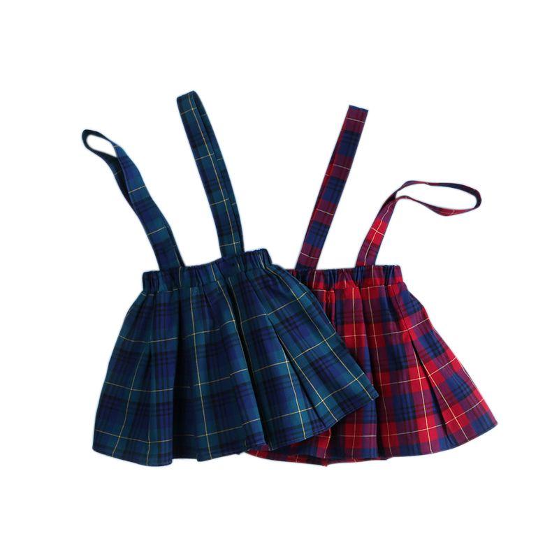 Pksaq Inglaterra estilo escuela infantil ropa niños Faldas para niña verano otoño falda a cuadros Niño suspender plisado Faldas