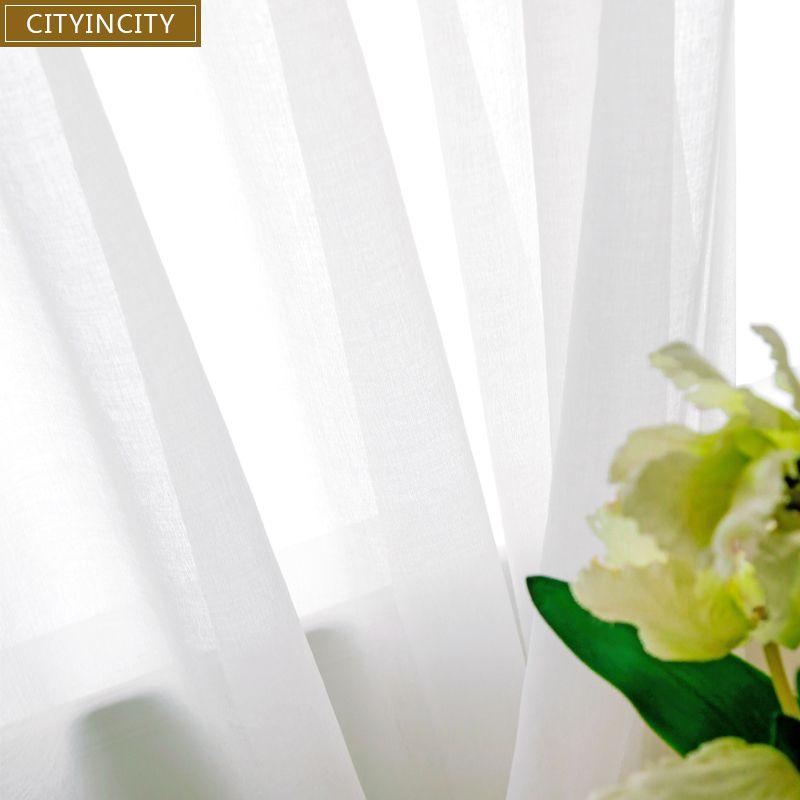 CITYINCITY doux blanc Tulle rideaux pour salon japon style Voile pure fenêtre rideau pour chambre salle à manger personnalisé