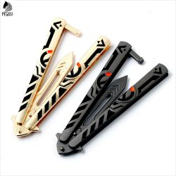 PEGASI Butterfly In Knife Titanium Coated Training Folding Knife Butterfly Not Sharp Free Butterfly Knife White Balisong No Scre