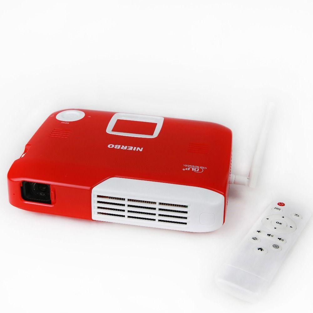 NIERBO Mini-projektor Volles 3D Tragbare Projektor Drahtlose Batterie Unterstützung 4 Karat Android Wifi Bluetooth Home Theater 2D nach 3D conver