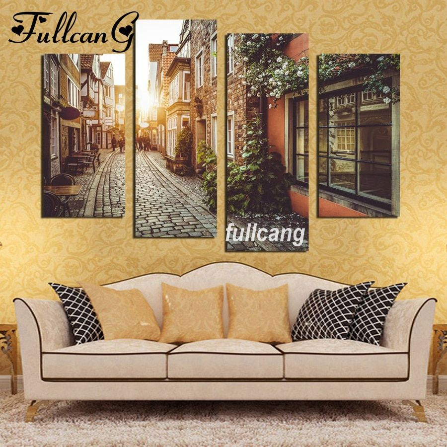 scenery diy 4pcs/set mosaic full diamond embroidery city streets diamond painting cross stitch square drill multi-pictures E444