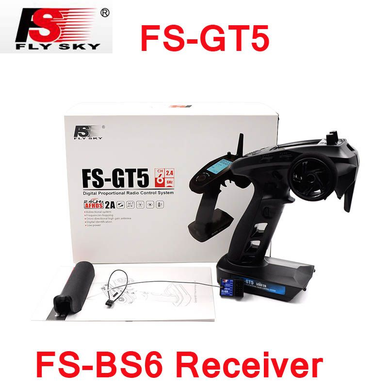 Original Flysky FS-GT5 2.4G 6CH Transmitter with FS-BS6 Receiver Built-in Gyro Fail-Safe for RC Car Boat spare parts