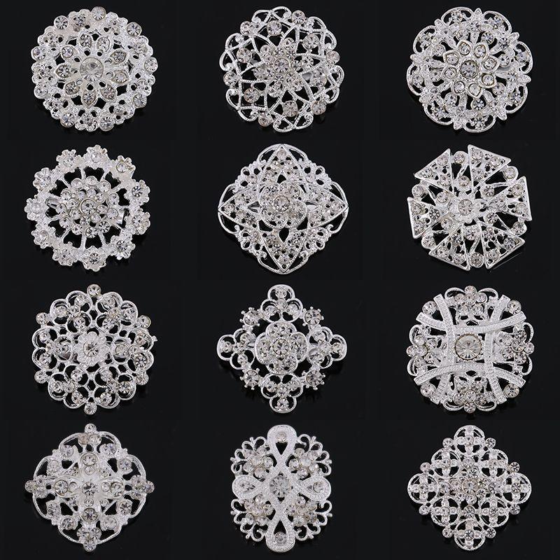 Pack de 12 Unidades al por mayor de Plata o de Oro de Color Plateado Cristal Piedras Flor Broche para La Boda DIY Accesorios