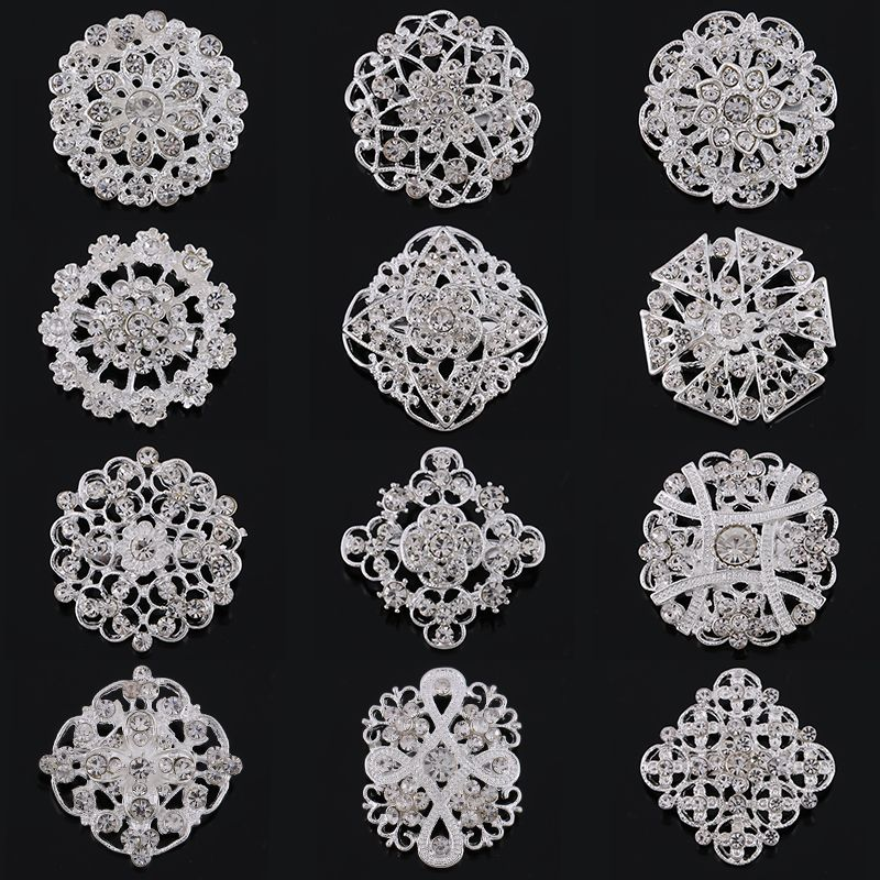 Wholesale Pack of 12 Pieces Silver or Gold Color Plated Crystal Rhinestones Flower Brooch Pins for DIY Wedding Accessories