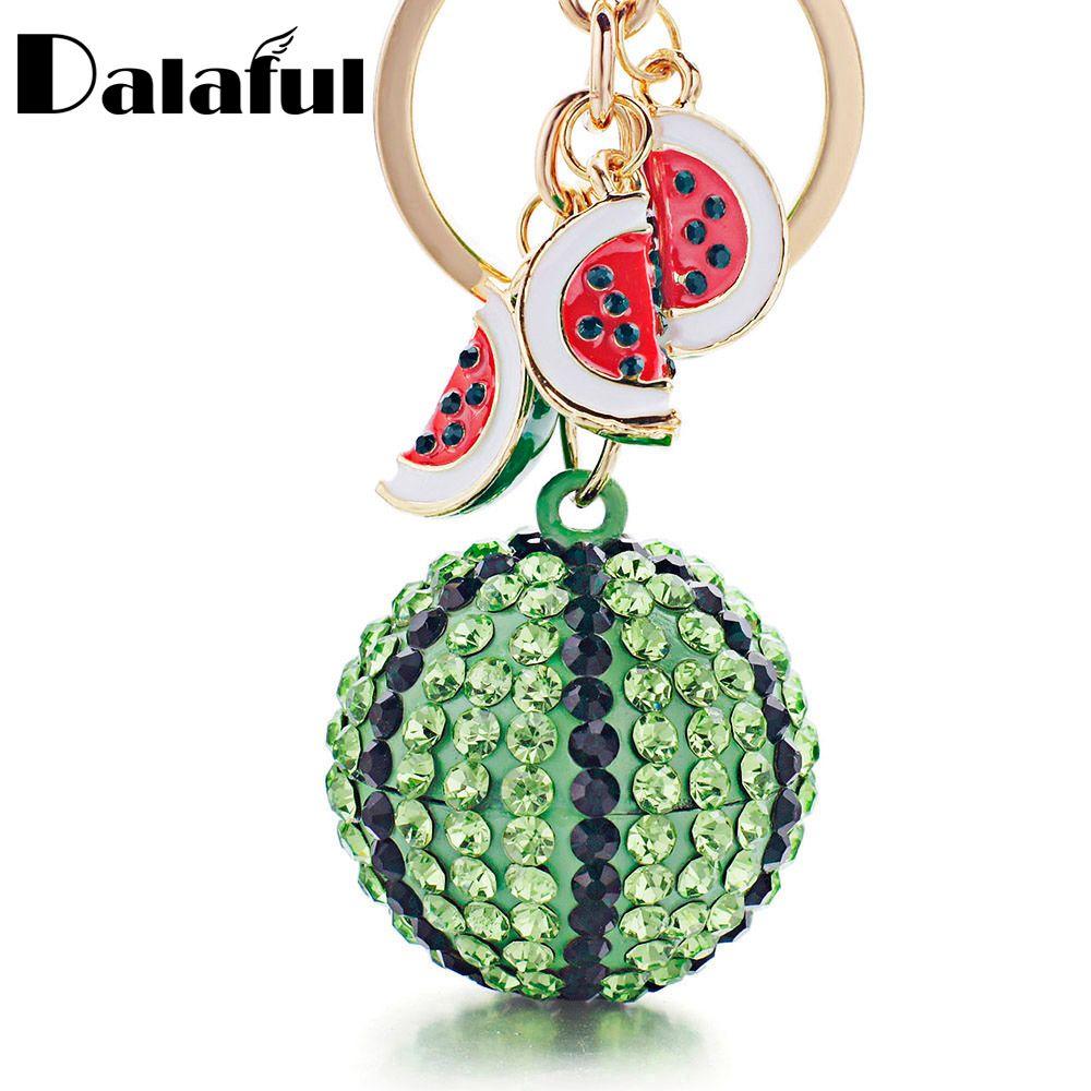 Dalaful творческий зеленый арбуз мяч подвеска брелок Металлический брелок для ключей для Для женщин сумка автомобилей брелков k340