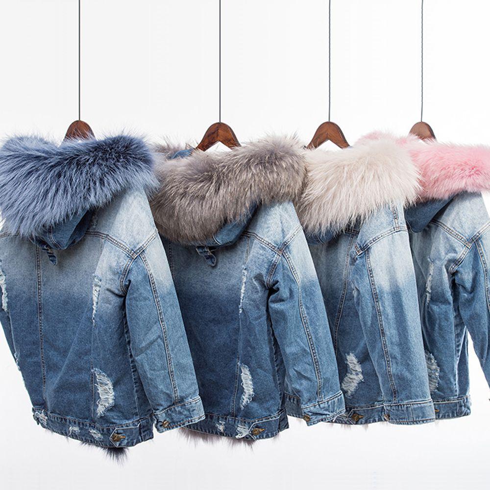 Real fox fur liner coat female warm winter fox fur coats natural raccoon fur collar hooded jean parka detachable liner