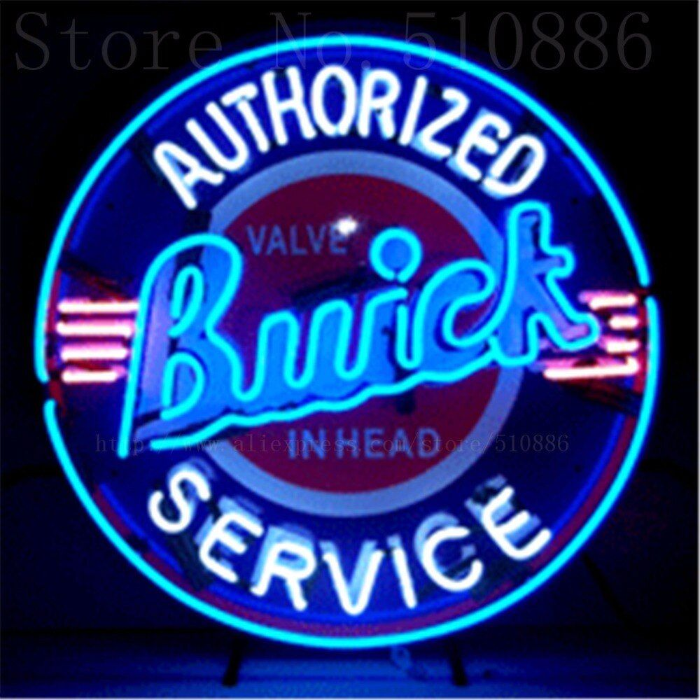Buick with Silkscreened Backing Real Glass Tube Car neon sign Handcrafted Automotive signs Shop Store Business Signboard 24