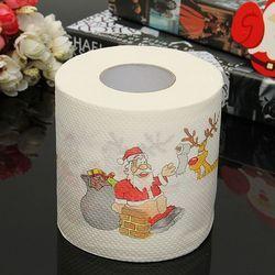 1 рулон Санта-Клаус Печатный Merry Рождество туалетная бумага тканевая настольная комната Декор украшение для рождественской вечеринки DIY Craft ...