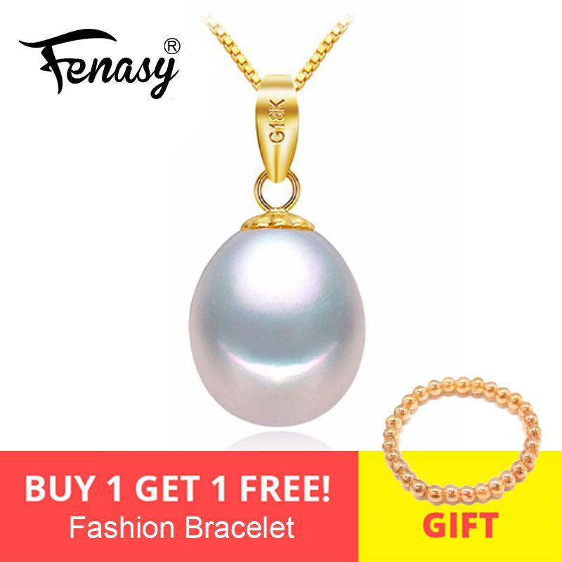 FENASY 18 K or peandant perle bijoux colliers et pendentif pour les amoureux marque fête perle pendentifs envoyer s925 argent colliers