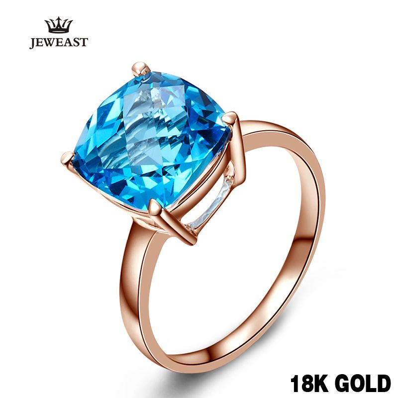 18k 14k Gold Rose Natural Blue Topaz Ring Fashion And Elegant Classic Exquisite Jewelry Hot Sale sapphire Customization 2017 new