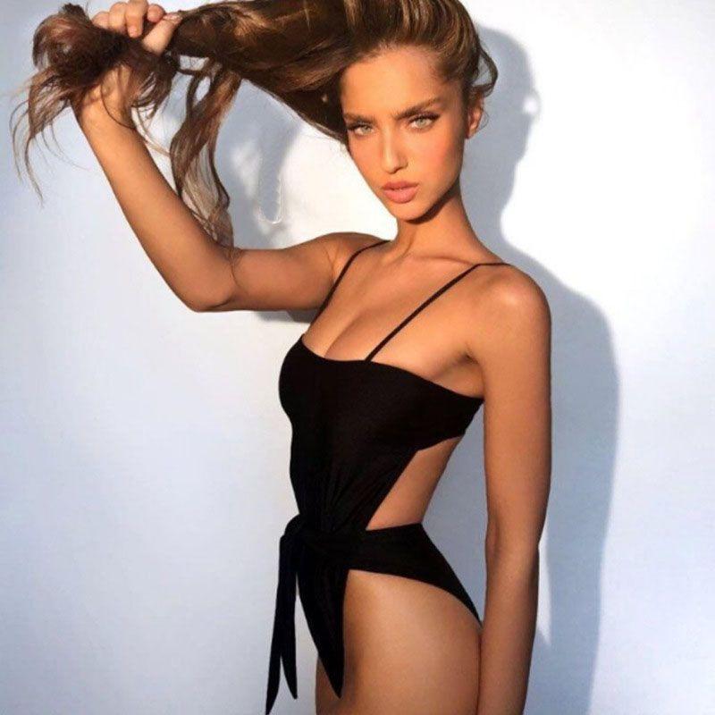 2018 Sexy Swimsuit Women Swimwear One Piece Halter One Piece Push Up Swimsuit Bandage Bathing Suit Wear Female Beachwear 3336