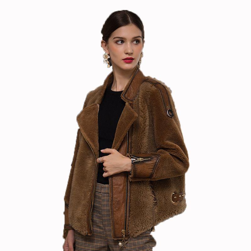 Herbst Winter Jacke Frauen Kleidung 2018 Korean Echten Pelzmantel Vintage Wolle Mantel Luxus Schafe Lammfell Pelz Weibliche Tops ZT1269